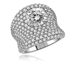 Designer Ring - 3.0 Cts. round Diamond Essence surrounded by melee. In Platinum Plated Sterling Silver. Available in Select Ring sizes.