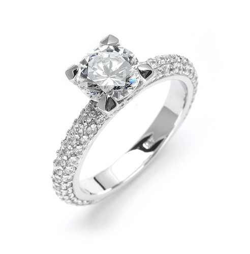 Wonderful Brilliance! You will behold this beauty forever with its glittering 1.25 Cts. Round Diamond Essence Brilliant sitting atop on 1.25 Cts. of Sheer sparkles on the band and on the prongs. Appx. 2.50 Cts.T.W.