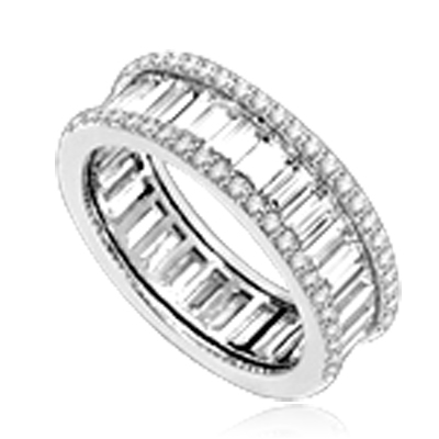 Magnificent Eternity Band with Diamond Essence Baguettes all around, outlined with Diamond Essence melee in delicate prong setting of Platinum Plated Sterling Silver. 4.5 Cts. T.W.