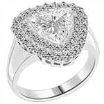 Beautiful designer Ring - Trilliant cut Diamond Essence, 3 ct center set in three prongs setting, surrounded by two rows of Diamond Essence melee. 5.25 cts.t.w.in Platinum Plated Sterling Silver.