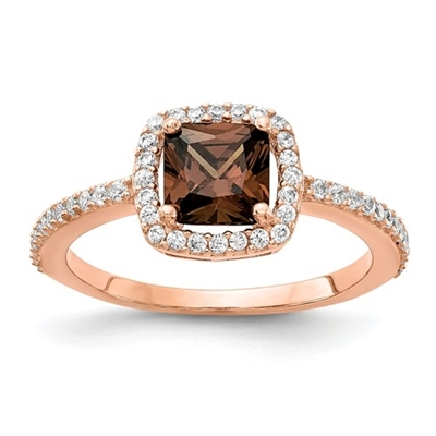 Diamond Essence Designer Ring With Chocolate Cushion Center and melee around it and half way on the band. 1.75 Cts.t.w in Rose Plated Sterling Silver.