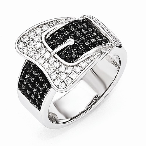 Diamond Essence Designer Buckle Ring with Black and White Diamond Essence melee, 2.0 Cts.t.w. in Platinum Plated Sterling Silver.