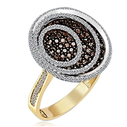 Oval shaped Designer Ring with Round, Chocolate Essence and Diamond Essence Melee, 3.25 Cts.T.W. set in Two - Tone, 14k Gold Vermeil.