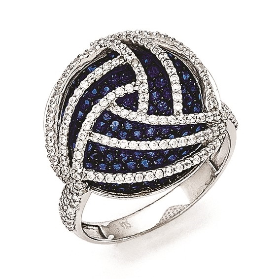 Designer Ring with artistically set Sapphire Essence and Diamond Essence Melee, 3.0 Cts. T.W. set in Platinum Plated Sterling Silver.