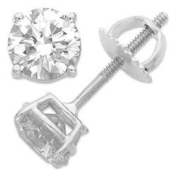 Diamond Essence Platinum Plated Sterling Silver Screw Backs - SSB002