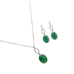 Diamond Essence Green Agate Earring & Pendant in 14k platinum plated Sterling Silver- SSET328GA