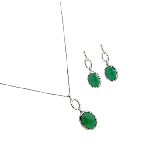 Diamond Essence Green Agate Earring & Pendant in Sterling silver- SSET328GA
