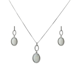 Diamond Essence Mother of Pearl Earring & Pendant in 14k platinum plated Sterling Silver- SSET328MP