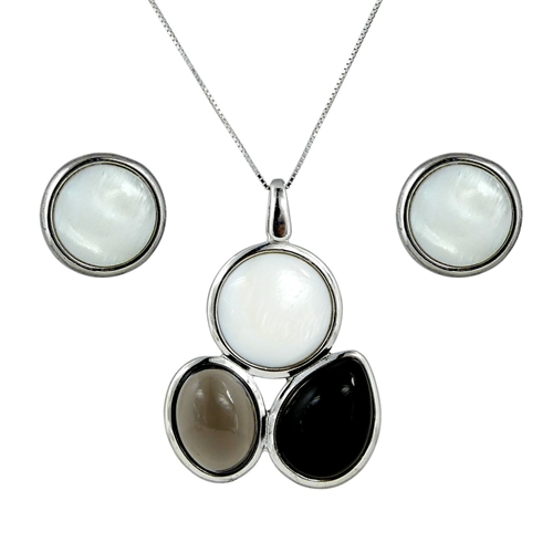 Diamond Essence Combination of natural stones Earring & Pendant in Sterling Silver- SSET345MBS