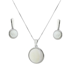 Diamond Essence Mother of Pearl Earring & Pendant in 14k Platinum Plated Sterling Silver  bazel setting-SSET365MP