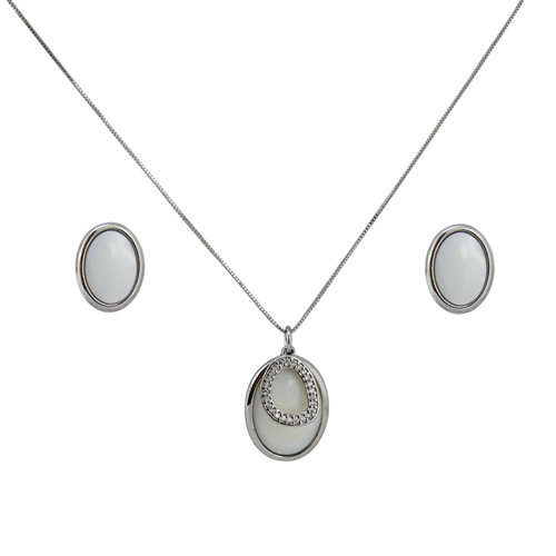 Diamond Essence Mother of Pearl Oval shaped Earring & two piece Pendant in Sterling Silver- SSET402MP