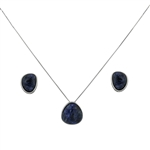 Diamond Essence Sodalite Earring & Pendant in 14k Platinum Plated Sterling Silver  bazel setting-SSET414S