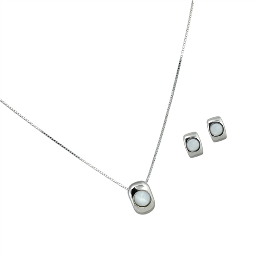 Diamond Essence Mother of Pearl Earring & Pendant in Sterling Silver- SSET417MP