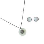 Diamond Essence Mother of Pearl Earring & two piece Pendant in 14k platinum plated Sterling Silver- SSET431MP