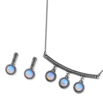 Diamond Essence Moon Stone Earring & Pendant in Antique Silver- SSET433MS
