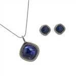Diamond Essence Sodalite Earring & Pendant in Antique Silver- SSET436S