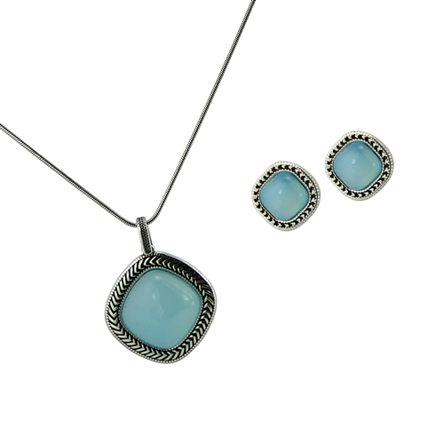 Diamond Essence Sky Agate Earring & Pendant in Antique Silver- SSET436SA