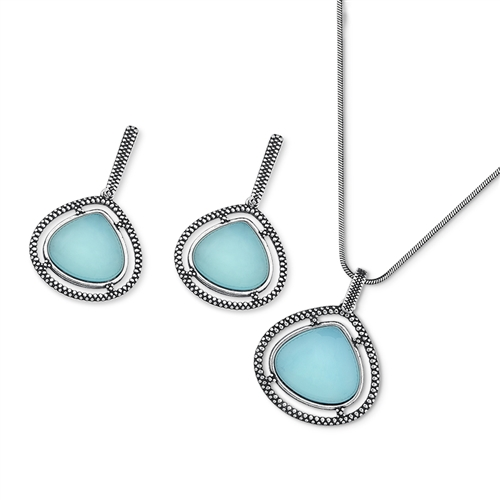 Diamond Essence Sky Agate Earring & Pendant in Antique Silver- SSET447SA