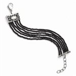 Stainless Steel Polished MOP/Black Onyx w/1.50in ext Bracelet