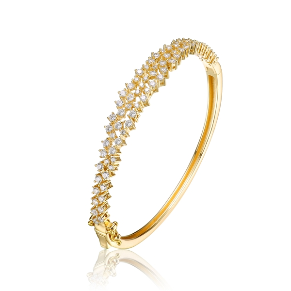Diamond Essence Hinged Bangle Bracelet in Prong Settings. 3.25 Cts.t.w. in vermeil. Shine your Holidays with this beautiful piece.