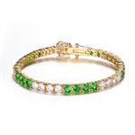 7 inches long tennis bracelet with Round cut Diamond Essence and Emerald  Essence stones, 0.20 carat each set in alternate group of 4 stones. 10.4 cts.t.w. in Platinum Plated Sterling Silver.