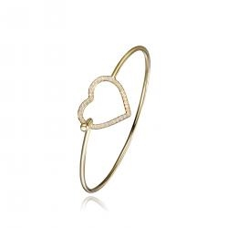Diamond Essence Bangle Bracelet with Round Melee set in Heart shape, 0.50 Cts.T.W. in 14K gold Plated Sterling Silver.