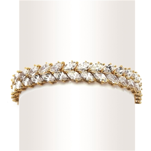 "7"" long Diamond Essence Designer Bracelet with 32.0 Cts. Marquise Essence set in 14K Gold Vermeil."