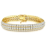 Channel Set Designer Bracelet with Artificial Princess Cut Diamonds by Diamond Essence set in Vermeil