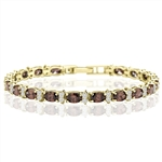 Diamond Essence Designer Bracelet With Oval chocolate And Round Brilliant Stones, 12.50 Cts.T.W. In 14K Gold Vermeil.