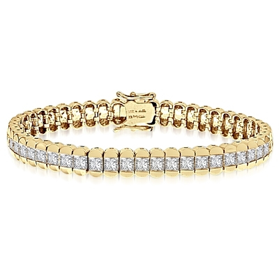 "Gold Vermeil bracelet, 7"" long, encompasses Diamond Essence Princess cut stones. 7.0 cts.t.w."