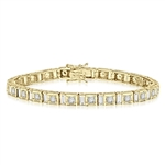 "7"" long stunning design bracelet with Diamond essence emerald cut baguettes and round brilliant Diamond Essence masterpieces set in ethnic setting of Gold Vermeil. Appx. 9.0 cts.t.w."