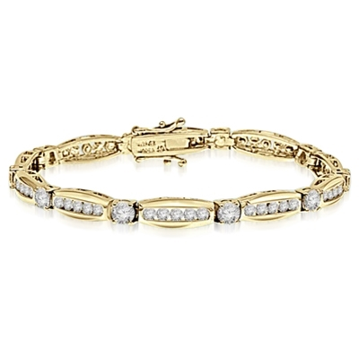 Elegant designer bracelet. Diamond Essence 0.5 ct. stones set in four prongs setting, between tension set melee. 7.0 cts.t.w. in Gold Vermeil.
