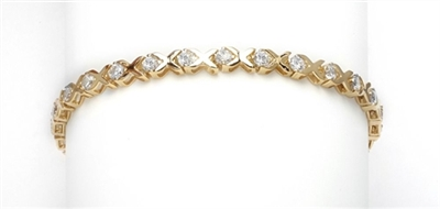 Misty Valley - X Bar Designed 7 Inch Bracelet with 3 Cts. T.W. of Round Brilliant Diamond Essence Masterpieces set in 14K Gold Vermeil.