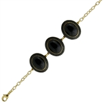 Diamond Essence Black Agate Bracelet in Vermeil - VBL222BA