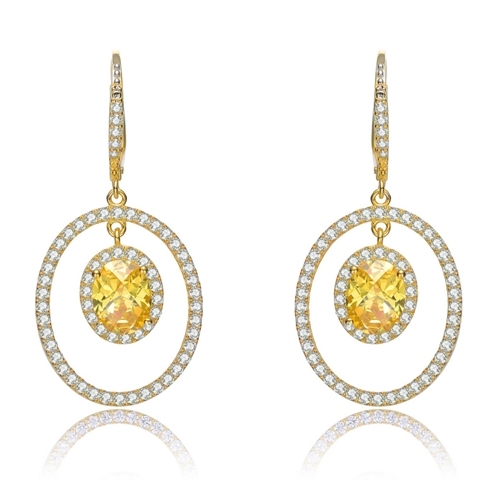Designer Leverback Earring, with 1.5 carat oval Yellow Citrine Essence surrounded by Round Essence melee, Outlined with bigger oval setting with melee. 5.5 cts.t.w. in Gold Plated Sterling Silver.