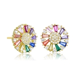 Diamond Essence Designer Stud Earring With Multi Color Baguettes and Melee, 2.10 Cts.T.W in Gold Plated Sterling Silver.
