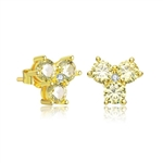 Diamond Essence Three Round Canary Stone Stud Earring, 1.50 Cts.T.W. in Gold Plated Sterling Silver. 9mm W x 9mm L