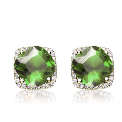 Diamond Essence Earrings With Cushion cut Peridot in Four Prongs surrounded by Brilliant Melee in 14K Gold Vermeil.