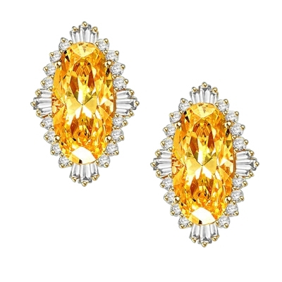 Diamond Essence Earrings in Gold Vermeil with Diamond essence 9.0 cts. Canary stone in the center and encircled by round stones and a large spray of baguettes on all four sides. Wear it with confidence. Appx. 21.0 cts. t.w. in Gold Vermeil.