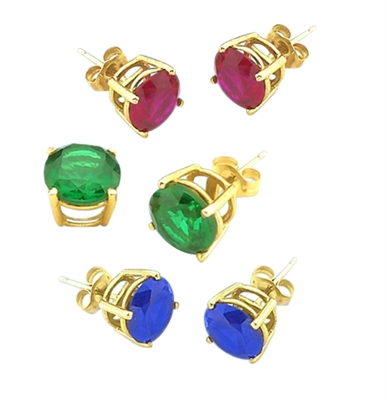 Gold Vermeil earring in Sapphire Ruby Emerald
