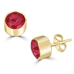 Diamond Essence stones 0.5 carat each, simulated ruby stone set in 14K Gold Vermeil tubular bezel setting. 1.0 ct.t.w. Choice of 2 and 4 ct.t.w. available