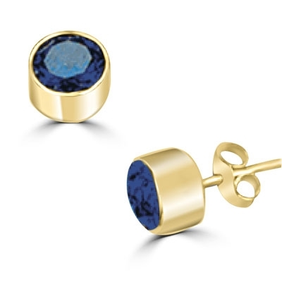 Diamond Essence 0.5 carat each, round brilliant DE Sapphire stone set in 14K Gold Vermeil tubular bezel setting. 1.0 ct.t.w. Choice of 2 and 4 ct.t.w. available.