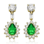 Clip Pear with Emerald Essence earring in vermeil