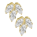 Diamond Essence Marquise Cut stone, 0.5 ct. each, set in floral design, 3.0 Cts.T.W. in 14K gold Vermeil.