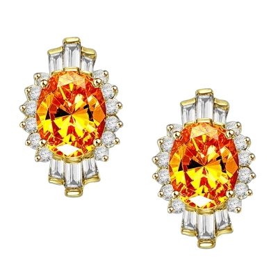 Diamond Essence Earrings in Gold Vermeil with Canary center