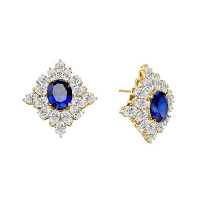 Designer Earrings with 3.5 ct. oval Sapphire Essence set in four prong, and surrounded by pear cut diamond essence stones in floral pattern. 8.5 cts. each earring. 17.00Cts. T.W. set in 14K Gold Vermeil.