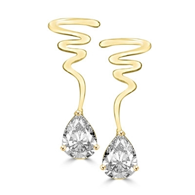 14K Gold Vermeil spiral earrings, 6.0 cts.t.w. with pear cut drops. As thrilling as a rendezvous in the glade.