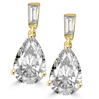 6.5 ct Pear cut  gold vermeil drop earrings