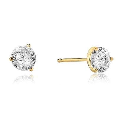 Pair of Studs in three prongs Martini Setting, Round Diamond Essence in each stud. 1.0 Ct T.W. set in 14K Gold Vermeil.