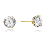 Pair of Studs in three prongs Martini Setting, Round Diamond Essence in each stud. 6.0 Cts T.W. set in14K Gold Vermeil.